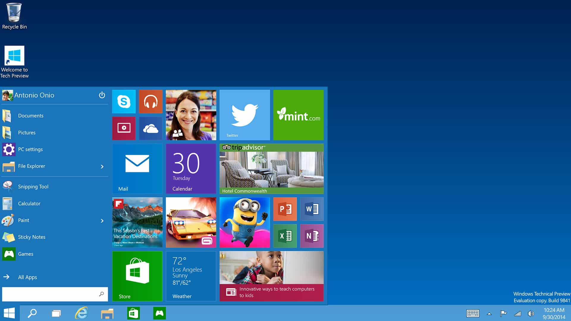 Microsoft Windows 10 Start Menu